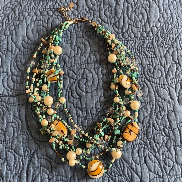 JS Collections Jewelry - Pretty Multi Strand Necklace with Tiger Eye beads